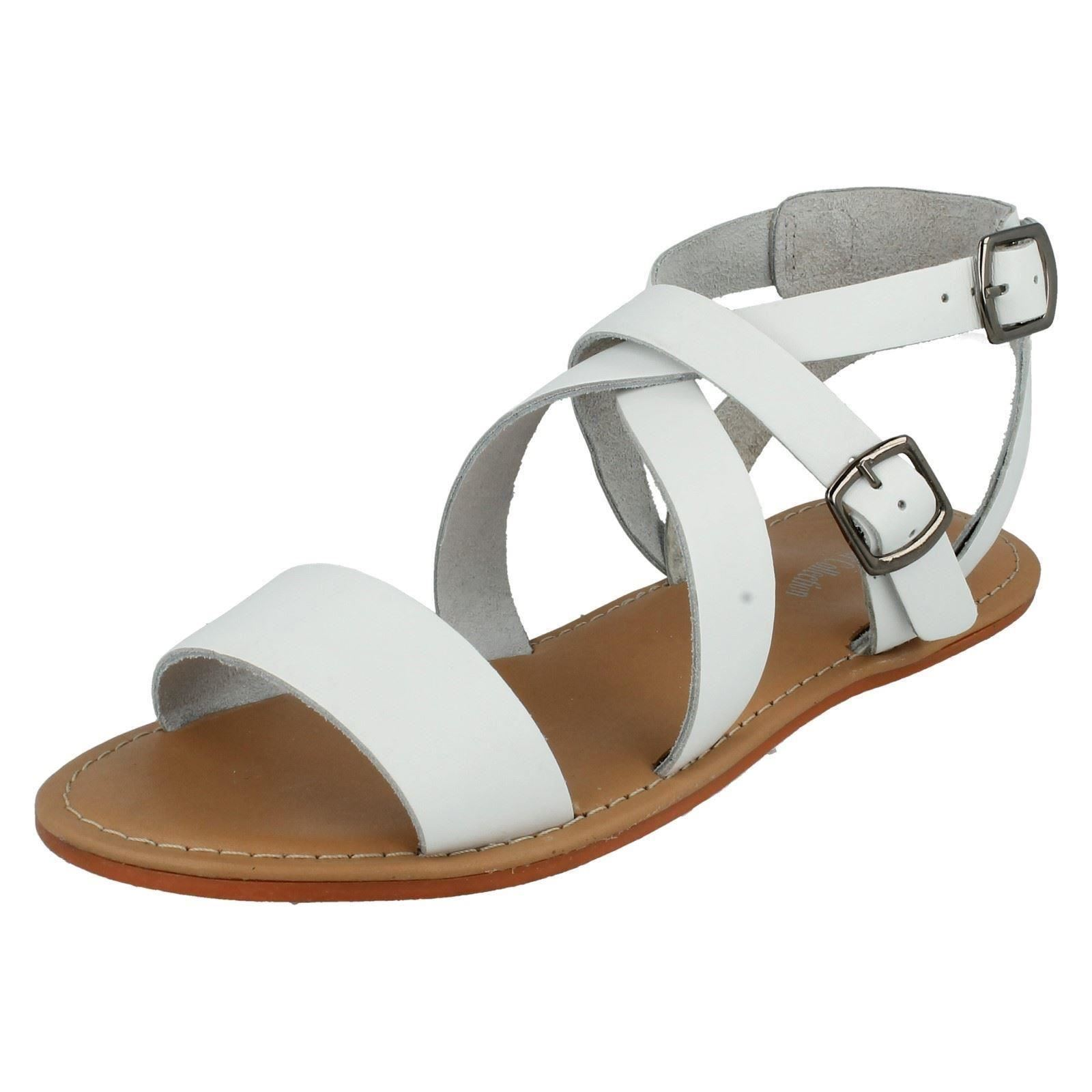 Leather Leather Collection F0924 Ladies White Leather Leather Slingback Buckle Sandals 2fff52