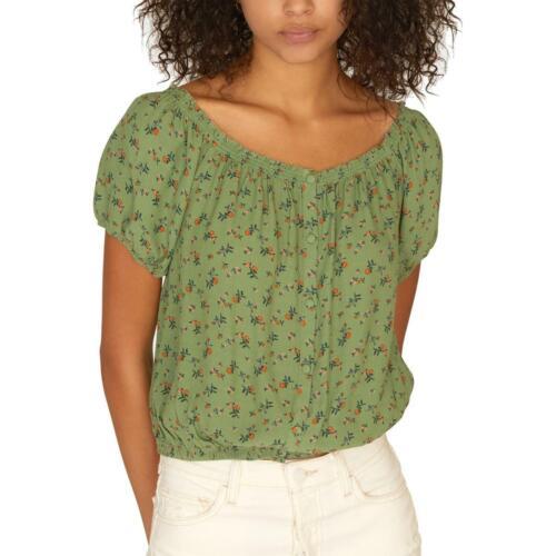 Sanctuary Womens Green Floral Short Sleeve Crop Peasant Top Blouse XXS BHFO 7361