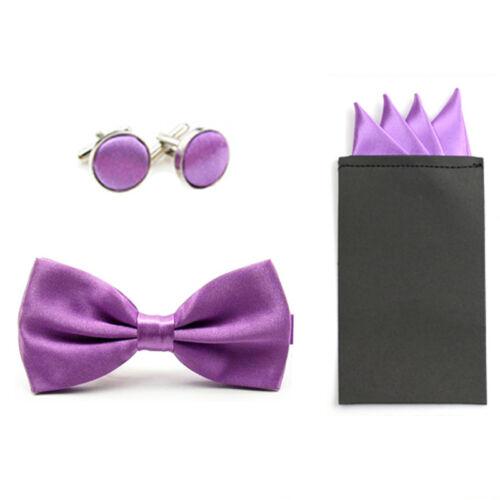Men Solid Bow Ties Pre-folded 4 Point Handkerchief Pocket Square Cufflinks Set