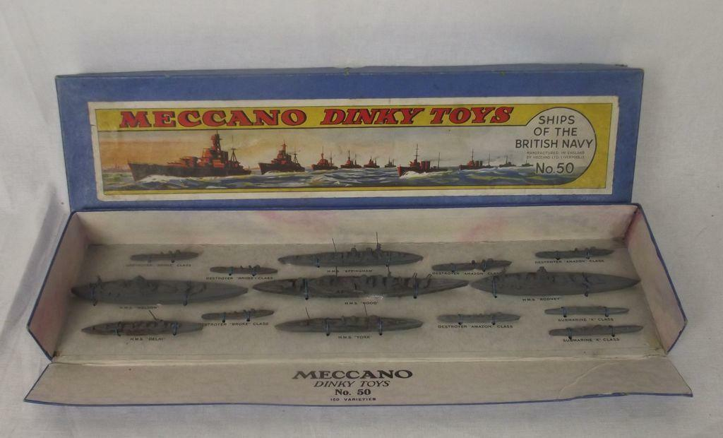 Boxed Dinky Pre-war Set No. 50 Ships of the British Navy