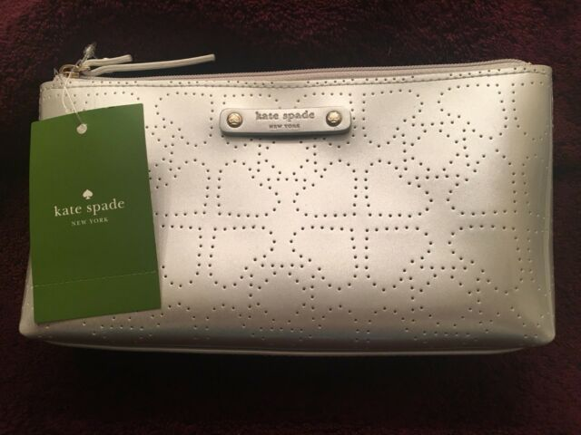 release date 9d6ce 50984 Kate Spade Little Shiloh Metro Silver Cosmetic Makeup Bag Pouch Clutch