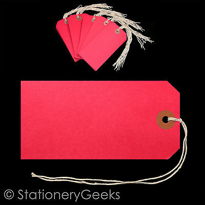50 Red Strung Tags 120 x 60 mm String Tie On Parcel Luggage Tag 120mm x 60mm