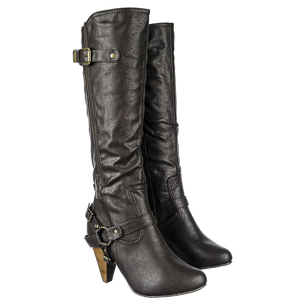 Western Cow Girl Mid-Calf Knee length Low Heel wide Leg Buckle Boots Size B54