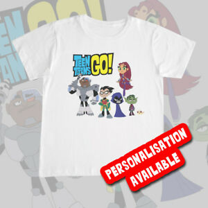 baa4b2ab Details about KIDS TEEN TITAN GO! TSHIRT Tee Top Cartoon Boys Girls  Personalised Gift Present