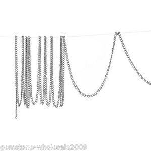 Wholesale W09 Lots Silver Tone Links-Opened Curb Chains For Necklace 2x1.5mm