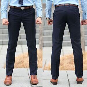 New Men Fit Skinny Casual Pencil Dress Pants Business Straight Leg Suit Trousers | EBay
