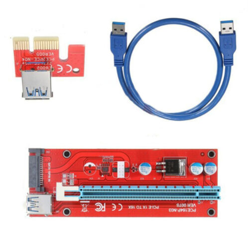 PCI-E Express 1x To 16x GPU Extender Riser Card Adapter Power Cable Extens sfd