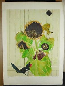 Stone-Raunel-1970-Print-Original-Signed-Num-13-175-Bouquet-Sunflowers