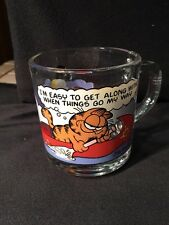 """GARFIELD-ODIE -1978 -MCDONALDS GLASS-Coffee Mug Cup """"I'm EASY TO GET ALONG WITH"""""""