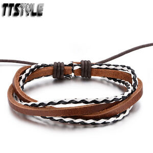 TTstyle Twisted Leather Bracelet Wristband Black//Brown