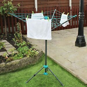 16m Portable Rotary Airer Compact 3 Arm, Portable Round Clothesline