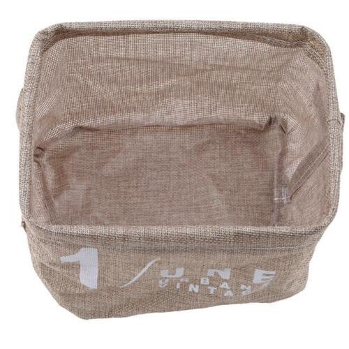 Cotton Linen Small Storage Basket Box Hamper Home Office Table Organizer Bag MA