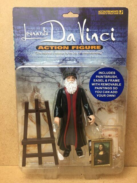 Accoutrements 2005 Leonardo Da Vinci Action Figure w// Painting Easel /& Portrait