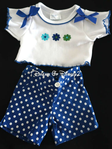 BuildABear WHITE TOP, BLUE POLKA DOT PANTS, EAR BOWS SET Teddy Clothes Outfit
