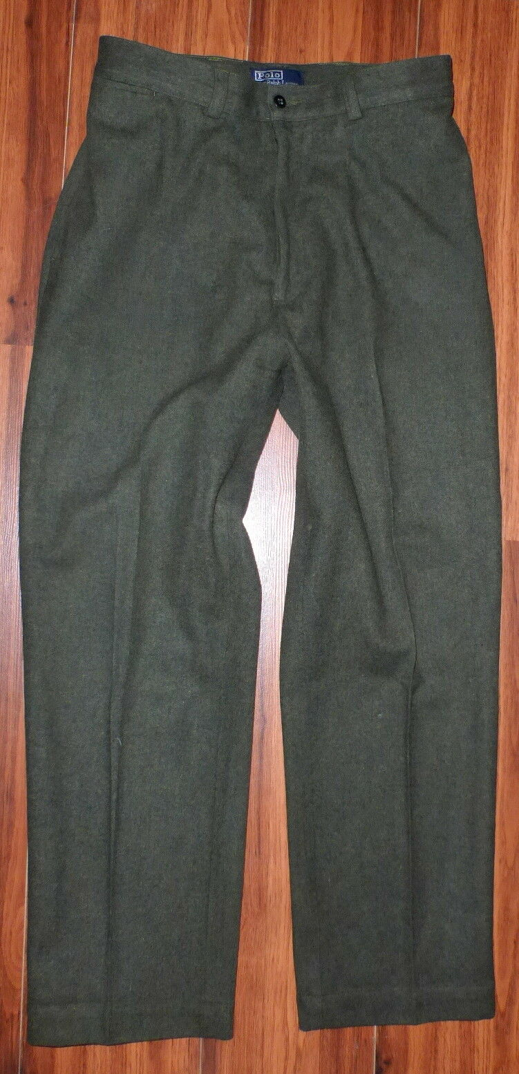 VINTAGE POLO RALPH LAUREN HIGH WAISTED WOOL PANTS TAG SIZE 34 BUT FIT LIKE 32X30