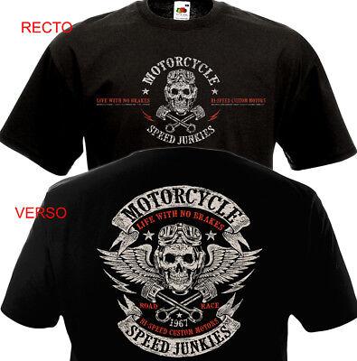 T Shirt Large cycles Shirt Crâne Moto Tatouage Rocker Moto Motard