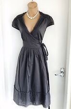 Beautiful TED BAKER Grey Cap Sleeve/Summer Casual Cotton Wrap Dress Size 3/ Uk12