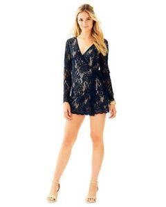 07d7264c68780f $198 Lilly Pulitzer Tiki Wrap Romper in Black lace sz XXS M   eBay