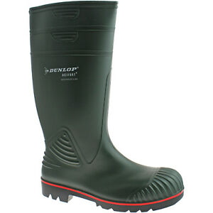 DUNLOP-ACTIFORT-STEEL-TOE-SAFETY-WELLIES-SIZE-UK-6-13-MENS-PVC-GREEN-W138E-KD