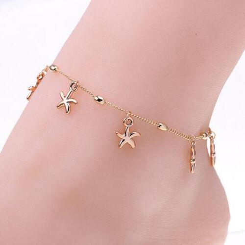 Hot Boho Starfish Turquoise Beads Sea Turtle Anklet Beach Sandal Ankle Bracelet