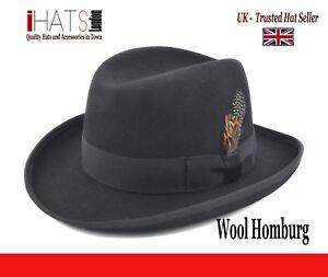 Caricamento dell immagine in corso Da-Uomo-Homburg-Cappello-Supreme-Qualita- Cappello-classico- d88c97370b4a
