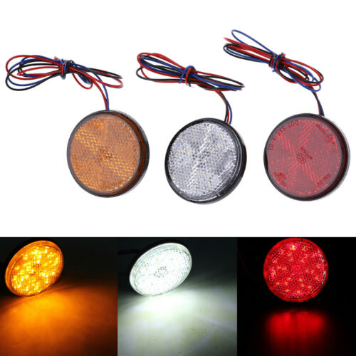 Car motorcycle red round 24LED brake turn signal stop tail lights reflector EC