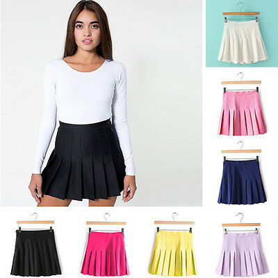 Womens Stylish Slim Soft High Waist Pleated Tennis Skirt Casual Dress Playful