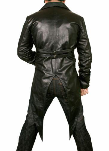 MENS STEAMPUNK COAT BLACK GOTHIC TAIL COAT GENUINE LEATHER