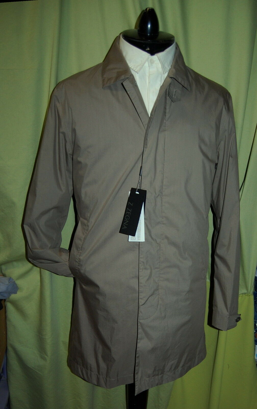 NWT Z ZEGNA mens khaki trench coat  S - Hydro Cotton Laminated Water Resistant