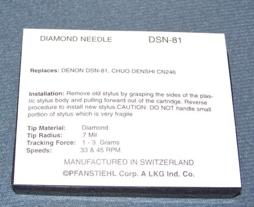TURNTABLE STYLUS NEEDLE DSN-81 replaces Technica ATN-3606 for Kenwood P-66 N-77
