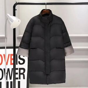 Dettagli su Piumino Donna Cappotto Lungo al polpaccio CAPPUCCIO Caldo Invernale Colore Nero