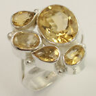 Natural CITRINE Gemstone 925 Sterling Silver Jewelry Ring Size US 7.75 Wholesale