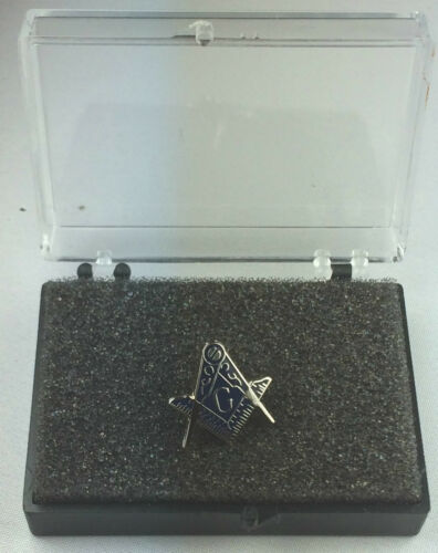 Masonic Cut Out Crest with G Silver Enamel Lapel Pin Badge In Gift Box
