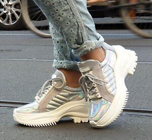 Bronx Schuhe BX 1586 66266-RC Metallic Silber Damen Echtleder Sneaker REDUZIERT!