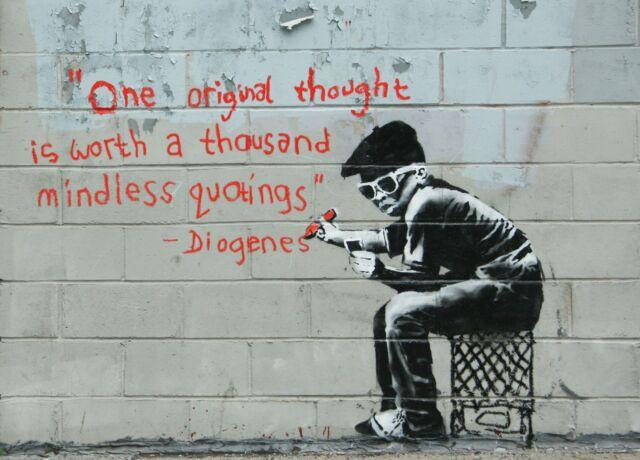"Banksy, Diogenes, 8""x11"", Graffiti Art, Giclee Canvas Print"