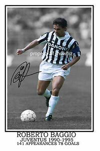 * ROBERTO BAGGIO SIGNED AUTOGRAPH PHOTO PRINT * ITALIAN SOCCER SUPERSTAR *