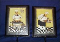 Wall Plaque Fat Chef Pictures Hooks Chefs Decor Set 2