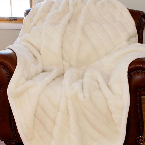 BEAUTIFUL SUPER ULTRA SOFT PLUSH LUXURY MINK FAUX THROW BLANKET Weiß - GORGEOUS