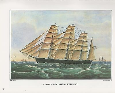 "1972 Vintage Currier /& Ives /""CLIPPER SHIP GREAT REPUBLIC/"" Color Print Lithograph"