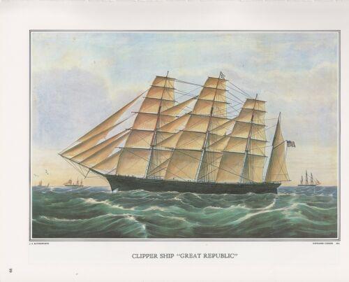 "1972 Vintage Currier /& Ives /""CLIPPER SHIP GREAT REPUBLIC/"" Color Print Lithograph"