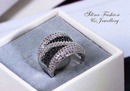 Thick 18K White Gold GF Diamond Studded Most Popular Crossover Line Band Ring