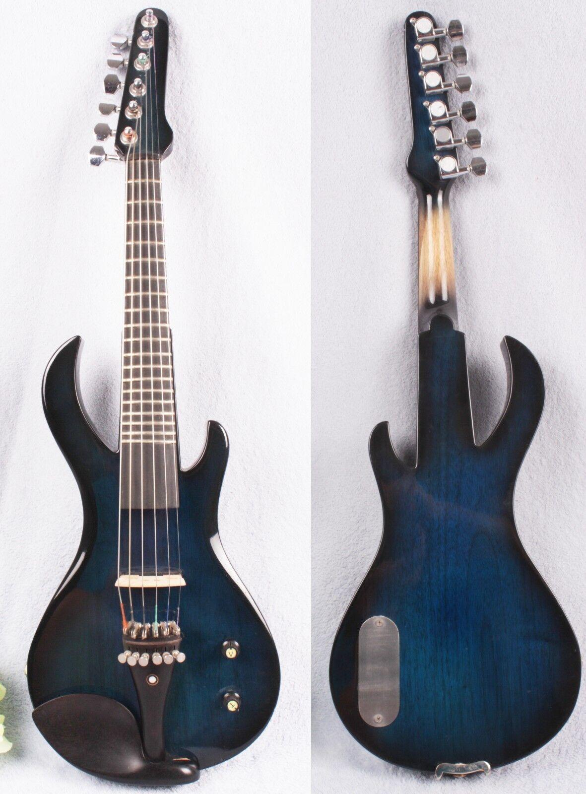 New 6 string 4 4 Electric Violin Fretboard guitar shape Violin Bow Case bluee