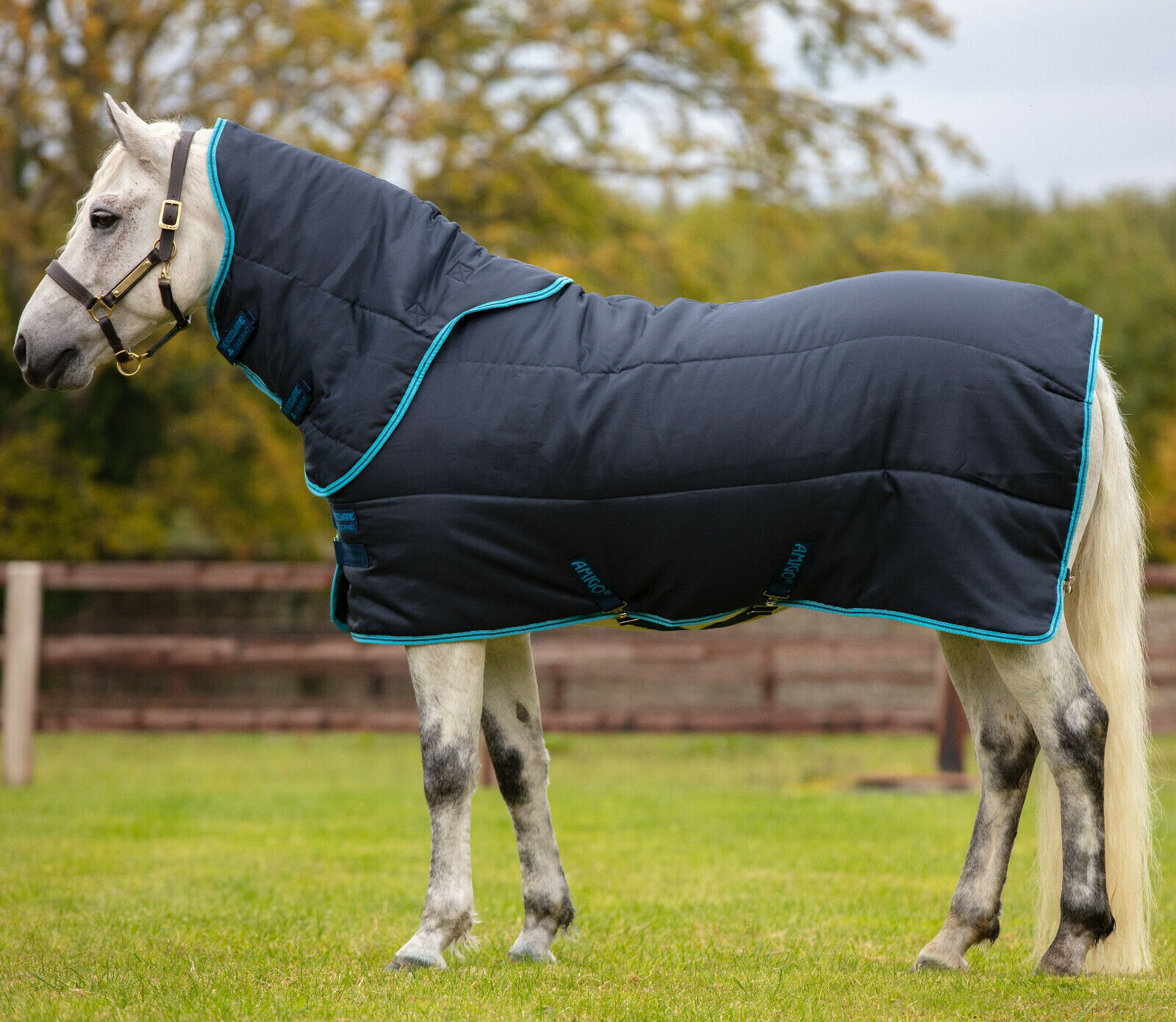 Horseware Amigo PONY BRAVO PLUS 1200d TURNOUT Rug Lightweight 0g Navy 3/'9-5/'9