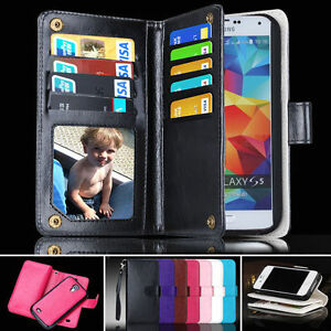 Compact-Zip-Wallet-Case-Samsung-Galaxy-S5-i9600-Card-Slots-Magnet-Phone-Cover