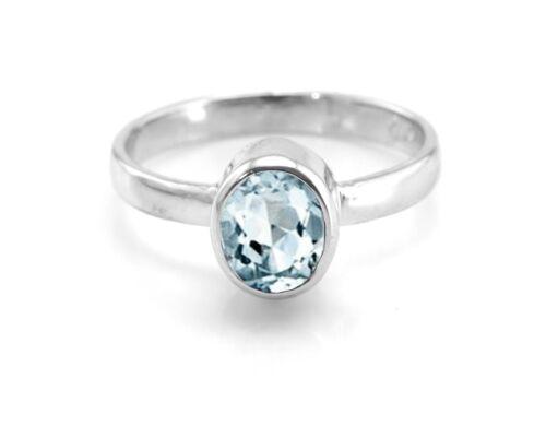 Aigue-marine 925 Sterling Silver Ring Naturel Bleu Solitaire Sz 4 5 6 7 8 9 10 11