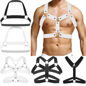 Men-039-s-Gothic-Leather-Chest-Harness-Gay-Interest-Buckles-Strappy-Clubwear-Costume