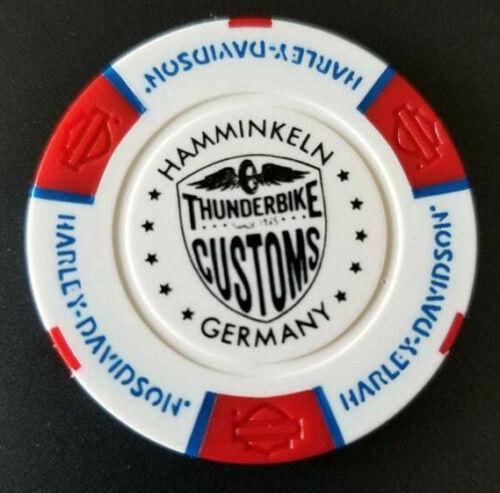Wht//Red//Blu HD NIEDERRHEIN THUNDERBIKE~Germany Harley International Poker Chip~