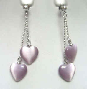 Amethyst Heart Shape Silver Dangle Earring for Girls