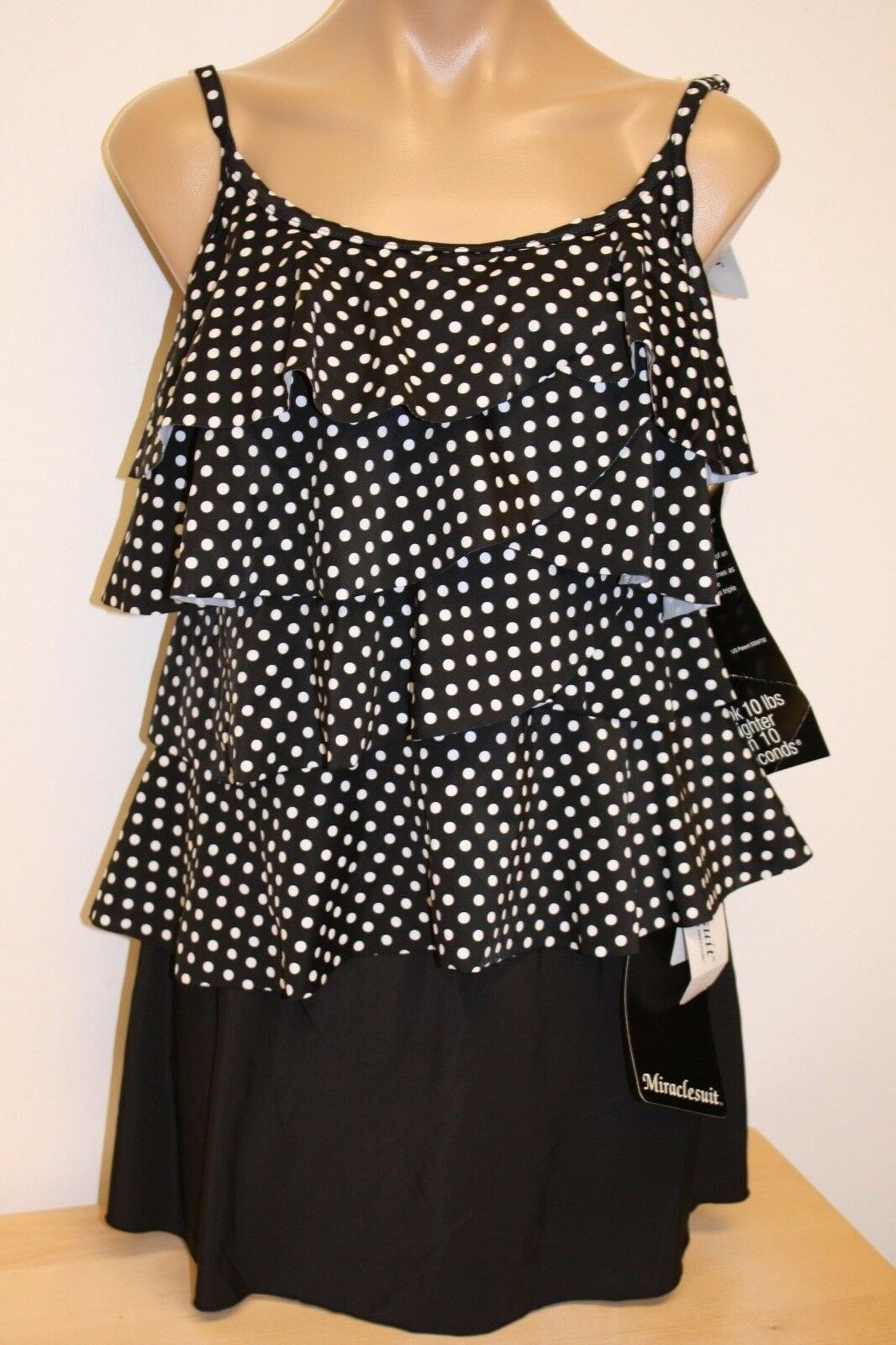 NWT Miraclesuit Swimsuit Tankini 2 pc set sz 10 BLW Ruffles Skirt Tier Up