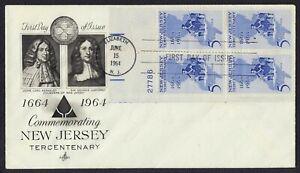 #1247 5c Nuevo Jersey-Plate Bloque, Arte Craft-Add FDC Cualquier 5=